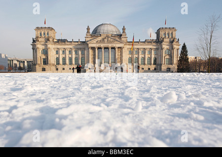 Snow at the Reichstag, winter in Berlin, Germany - Stock Photo
