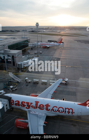 Easyjet aircraft parked at Gatwick airport London England - Stock Photo