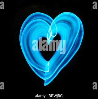 blue light heart - Stock Photo