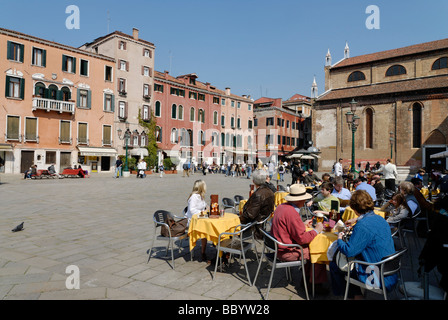At the Campo Santo Stefano, San Marco quarter, Venice, Venezia, Italy, Europe - Stock Photo
