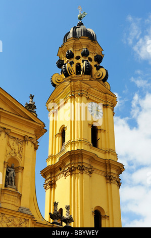 The bell tower of the Theatinerkirche church in Munich, Bavaria, Germany, Europe - Stock Photo