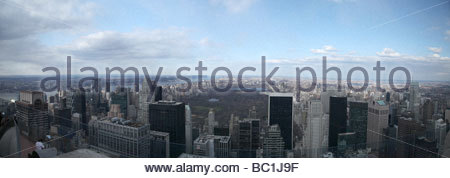 Panoramic view from the rockerfella centre of central park - Stock Photo