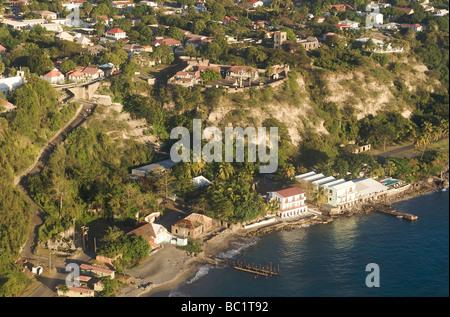 Sint Eustatius Aerial view of Oranjestad - Stock Photo