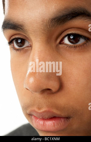 Close-Up Of Young Boy's Face - Stock Photo