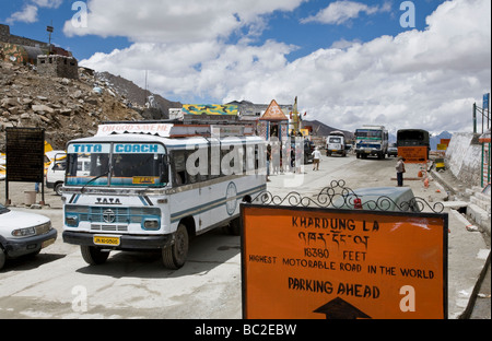 Bus at Khardung La pass (18380ft / 5602m). Ladakh. India ...