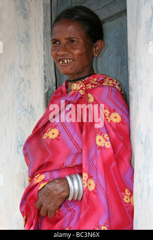 Elderly Lady Of The Indian Dhuruba Tribe, Orissa, India - Stock Photo