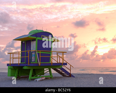 Art Deco style lifeguard station  on South Beach Miami at sunrise - Stock Photo