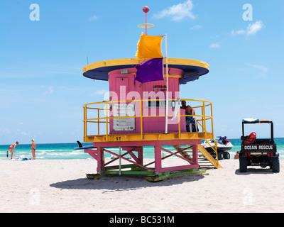 Art Deco style lifeguard station  on South Beach Miami - Stock Photo