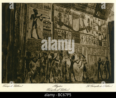geography / travel, Egypt, Abydos, temple of KIng Seti I (19th dynasty), interior view, relief, 1930s,  excavations, - Stock Photo