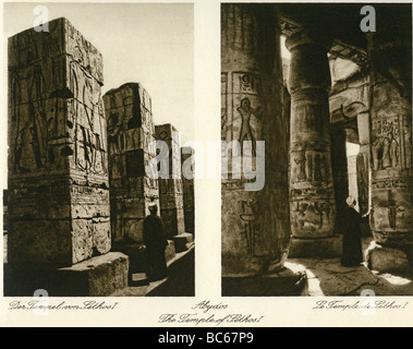 geography / travel, Egypt, Abydos, temple of KIng Seti I (19th dynasty), interior view, 1930s,  excavations, Africa, - Stock Photo