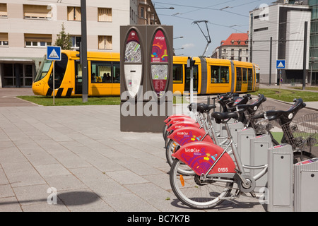 public transport electric tram trams bus buses lyon france french stock photo royalty free. Black Bedroom Furniture Sets. Home Design Ideas