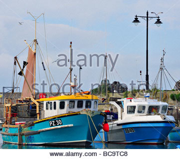 Boats in Newquay Harbour - Stock Photo