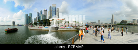 Singapore Marina Bay And Esplanade Theater Panorama - Stock Photo