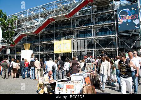 Centre Pompidou Beaubourg Museum France Paris Art - Stock Photo