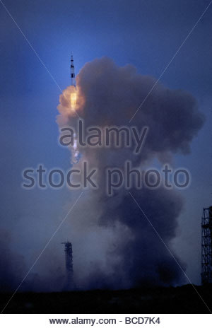 Apollo 11 begins its flight to the moon on July 16, 1969. - Stock Photo