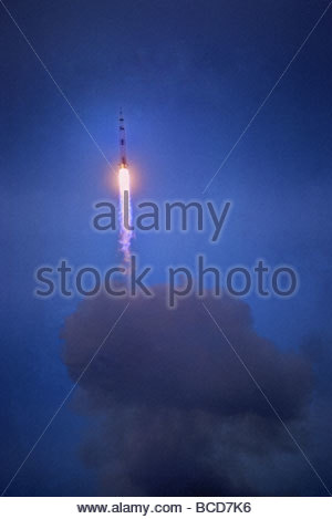 Apollo 11 begins its flight to the moon on July 16,1969. - Stock Photo