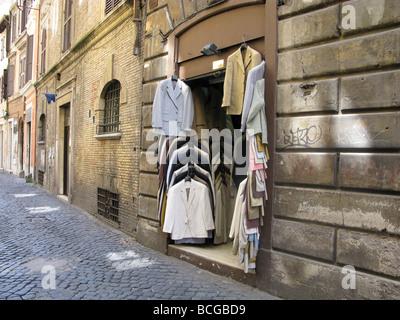 men's jackets shop in via del pellegrino,  rome italy - Stock Photo