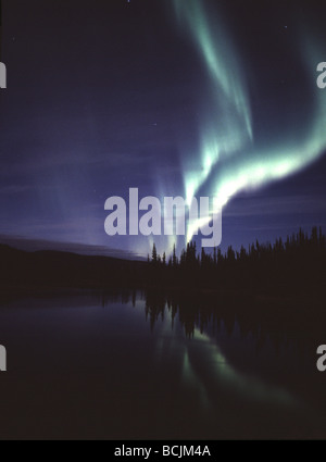 Northern Lights Dance above Tundra Pond Interior AK/nBlue Green Aurora Landscape - Stock Photo