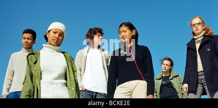 Group of young people, panoramic view - Stock Photo