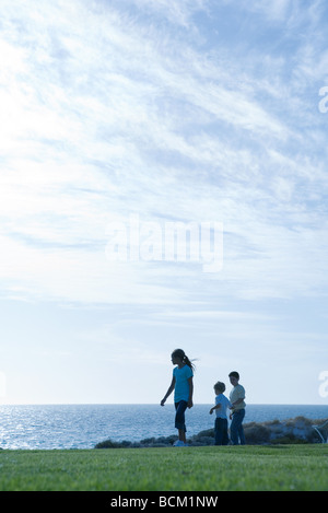 Children standing on grass, ocean horizon in background - Stock Photo