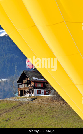 Chateau d Oex International Hot Air Balloon Festival Switzerland - Stock Photo