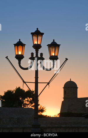 Street lamp and sentry post Valletta Malta - Stock Photo