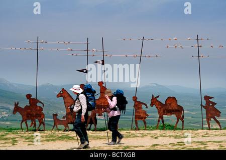 Spain, St. James´ Way: Pilrgrim´s monument at Alto del Perdon - Stock Photo