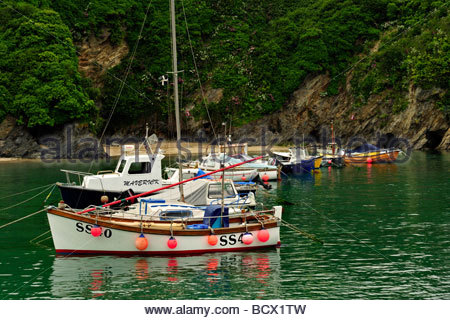Small Boats in Newquay Harbour, Cornwall - Stock Photo