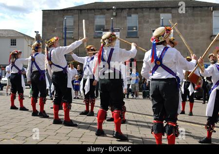 Morris dancing at Warwick Folk Festival, UK - Stock Photo