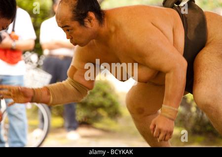 Sumo wrestlers of the Minezaki Heya during their early morning training, Kyuka Koen (Nine Flowers Park), Kuwana, - Stock Photo