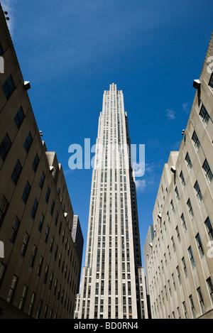 GE building, Rockefeller Center, Manhattan, New York City, low angle view - Stock Photo