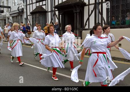 Stroud Morris Dancers in 2009 Warwick Folk Festival procession, UK - Stock Photo