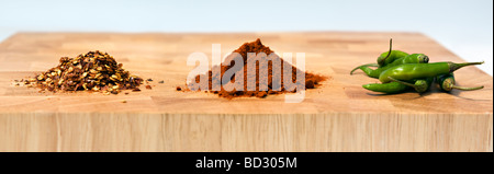 Panoramic photo of a selection of chilli types, dried, powdered and fresh, on wooden chopping board against white - Stock Photo