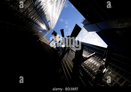Upward view of Maison Hermes building Architect Renzo Piano in Ginza district Tokyo Japan - Stock Photo