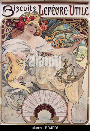 fine arts, Mucha, Alfons (1860 - 1939), poster, 1897, advertisement for Biscuits Lefevre-Utile, Lefevre Utile, Art - Stock Photo