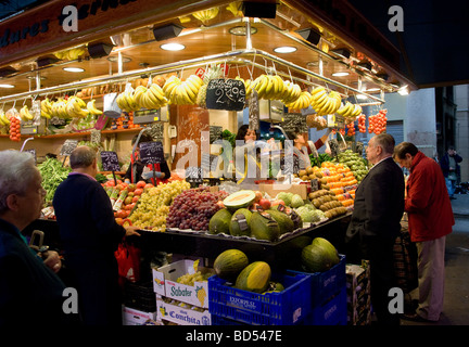 La Boqueria Market - also known as St Josep, Las Ramblas, Barcelona Stock Pho...