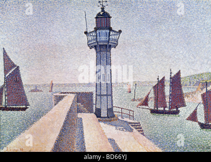 fine arts, Signac, Paul, (1863 - 1935), painting, 'Portrieux, Le Phare', 1888, Rijksmuseum Kröller-Müller, Otterlo, - Stockfoto