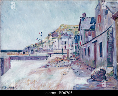 fine arts, Signac, Paul, (1863 - 1935), painting, 'farm houses at the French coast', Saarlandmuseum, Saarbrücken, - Stock Photo