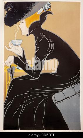 fine arts, Mucha, Alfons Maria, 24.7.1860 - 14.7.1939, graphic, 'Tee trinkende Dame' (tea-drinking lady), advertisement - Stock Photo