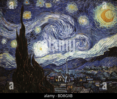 fine arts, Gogh, Vincent van, (1853 - 1890), painting, 'The Starry Night', oil on canvas, 73 x 92 cm, 1889, National - Stock Photo