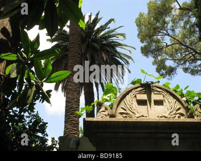 gravestone in protestant cemetery near piramide, rome - Stock Photo