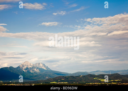 Early morning over the alps above Salzburg, Austria - Stock Photo