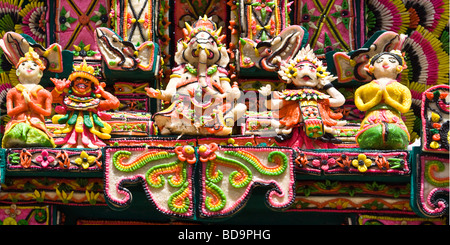 Offerings at temple Ceremony at Besakih mother temple Bali Indonesia - Stock Photo