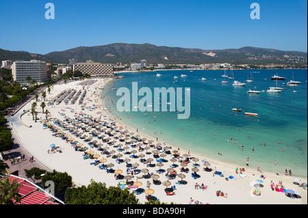 View over the main beach at Palmanova, Bay of Palma, South Coast, Mallorca, Balearic Islands, Spain - Stock Photo