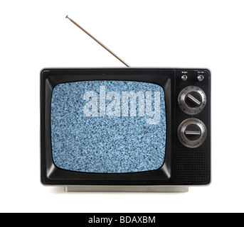 Vintage television with snow bands and patterns isolate over white - Stock Photo