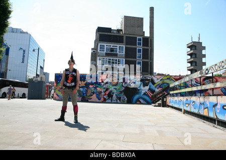 A punk girl 'Rae Ray Riots' with a large Mohican, Shoreditch, London, UK .2009 - Stock Photo