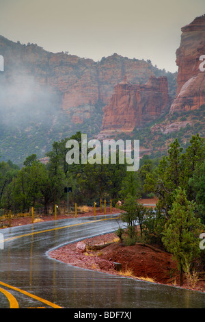 Red Rocks in rainy weather - Stock Photo