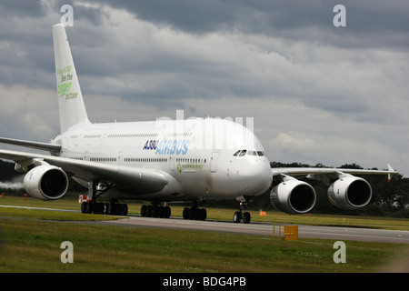 European A380 Airbus Airplane taxiing on the tarmac at the Farnborough International Airshow 2008 - Stock Photo