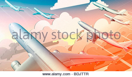 Group of airplanes taking off into sky - Stock Photo