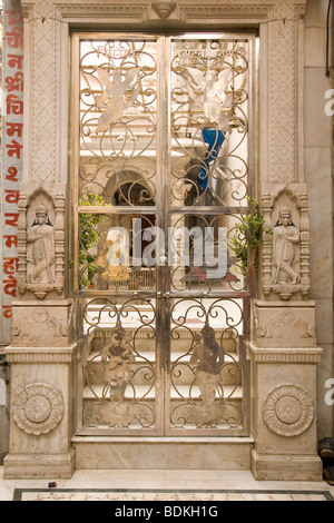 The gates of a Hindu Temple - dedicated to Lord Shiva - stand closed in the city of Varanasi, India. - Stock Photo